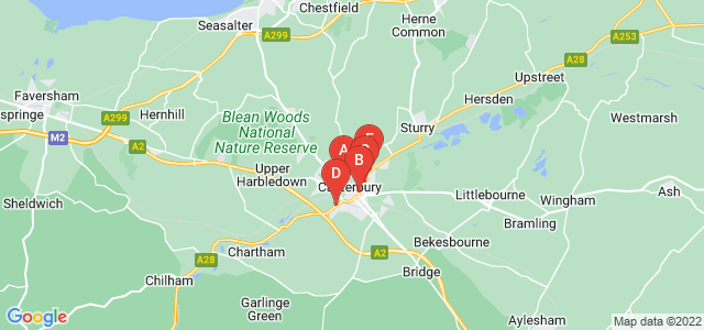 Google static map for Canterbury
