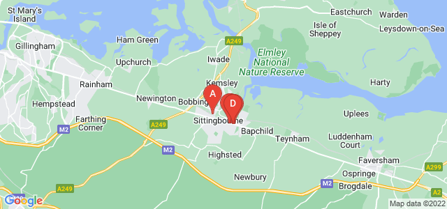 Google static map for Sittingbourne