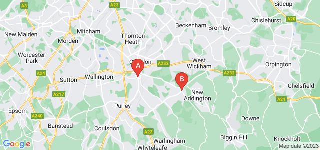 Google static map for South Croydon