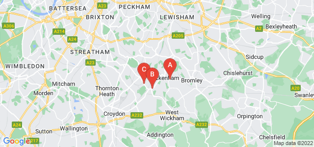 Google static map for Beckenham