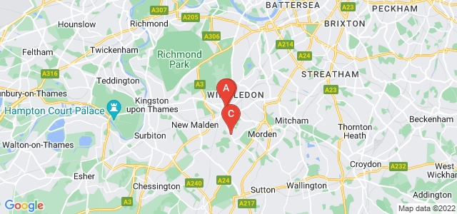 Google static map for Raynes Park