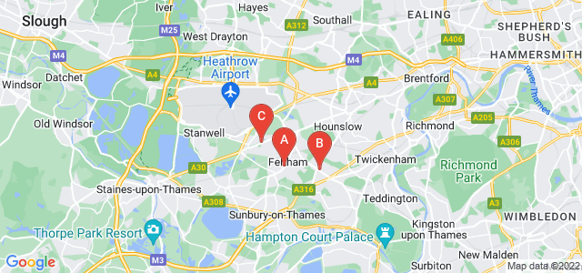 Google static map for Feltham