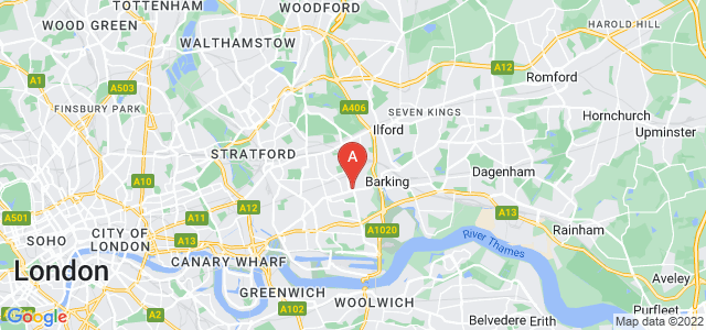 Google static map for East Ham