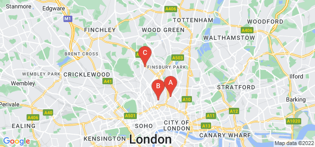 Google static map for Islington