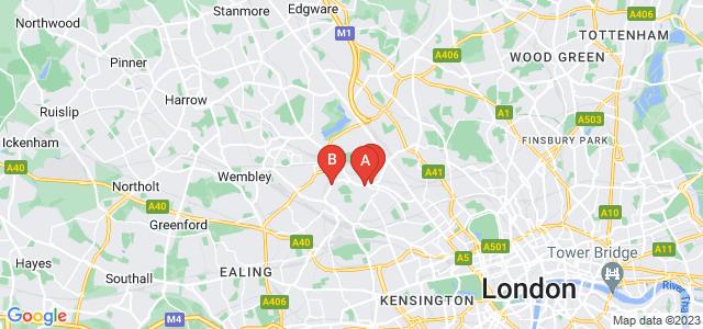 Google static map for Willesden