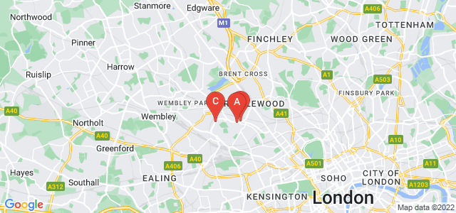 Google static map for Willesden