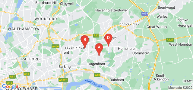 Google static map for Dagenham