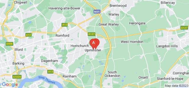 Google static map for Upminster