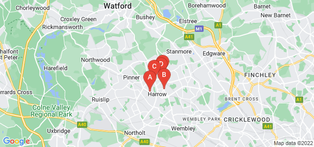 Google static map for Harrow