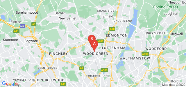 Google static map for Wood Green