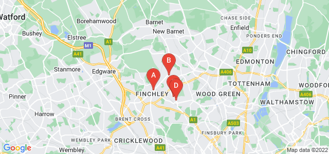 Google static map for Finchley