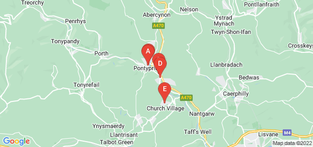 Google static map for Pontypridd