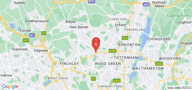 Google static map for New Southgate