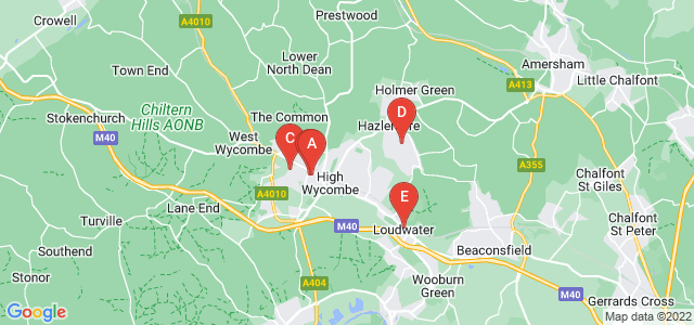 Google static map for High Wycombe