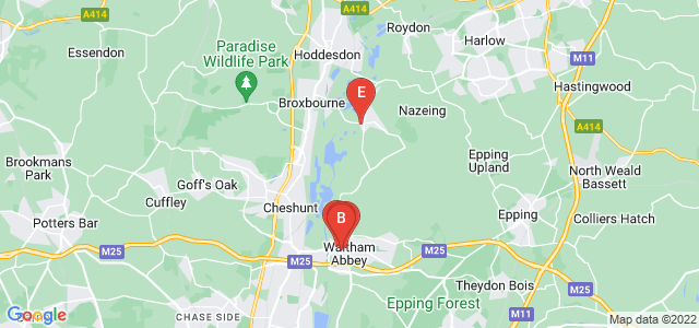 Google static map for Waltham Abbey
