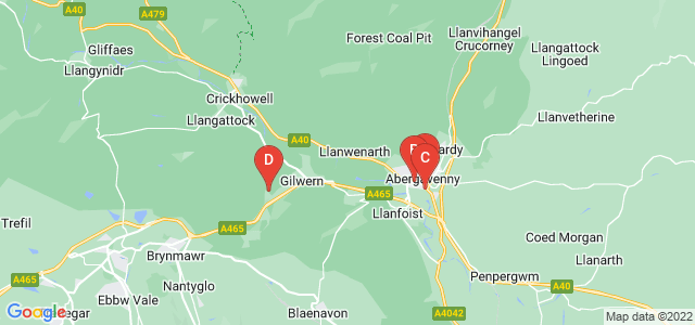 Google static map for Abergavenny