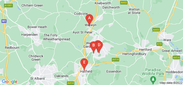 Google static map for Hertfordshire