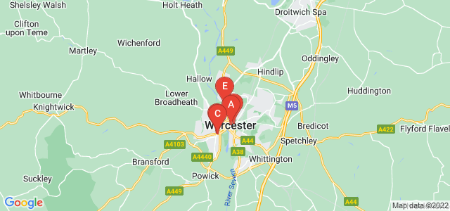 Google static map for Worcester