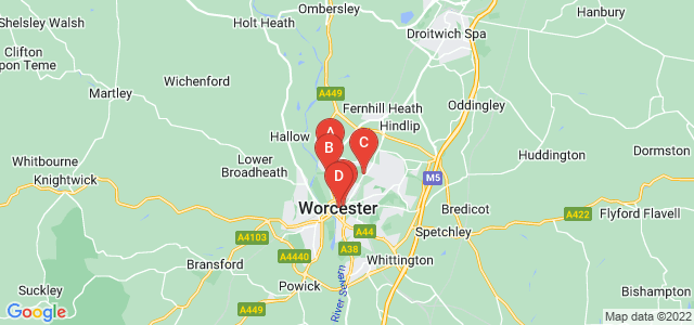 Google static map for Worcestershire