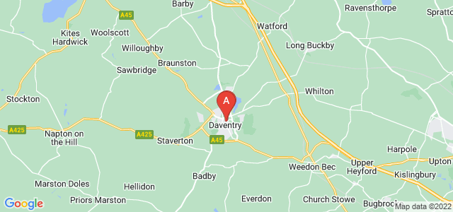 Google static map for Daventry