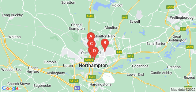 Google static map for Northamptonshire