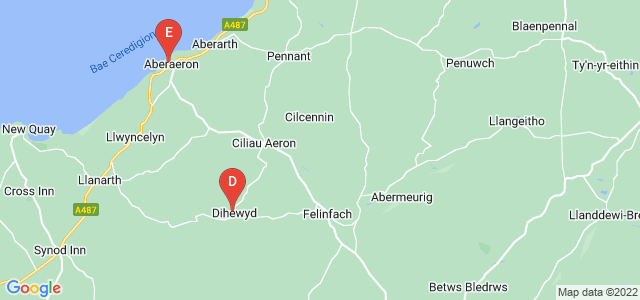Google static map for Ceredigion