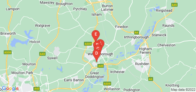 Google static map for Wellingborough