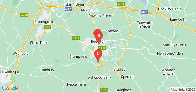 Google static map for Redditch