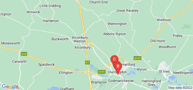 Google static map for Huntingdon