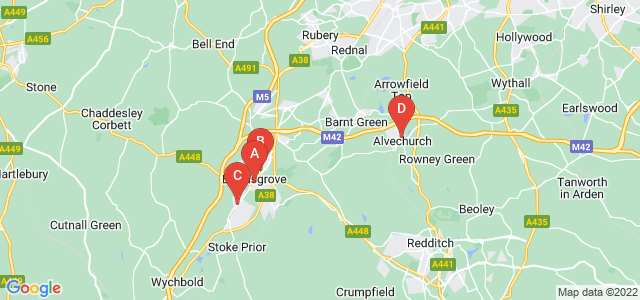 Google static map for Bromsgrove