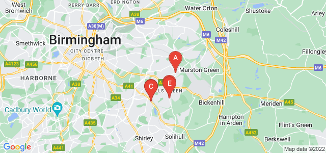 Google static map for West Midlands