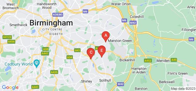 Google static map for West Midlands