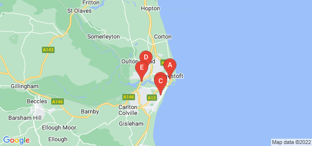 Google static map for Lowestoft
