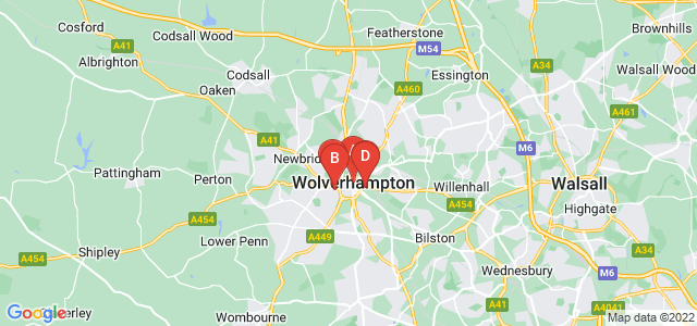 Google static map for Wolverhampton
