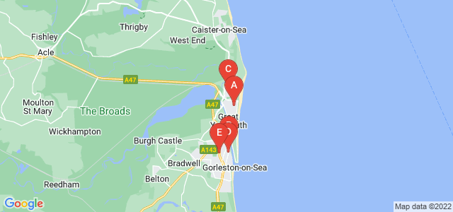 Google static map for Great Yarmouth