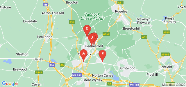 Google static map for Cannock