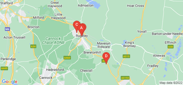 Google static map for Rugeley