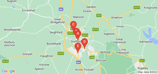 Google static map for Stafford