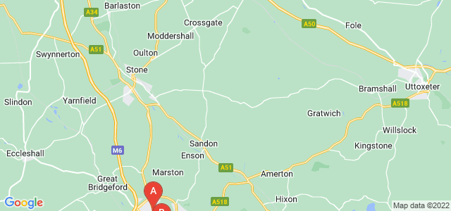 Google static map for Staffordshire