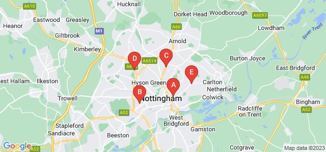 Google static map for Nottingham