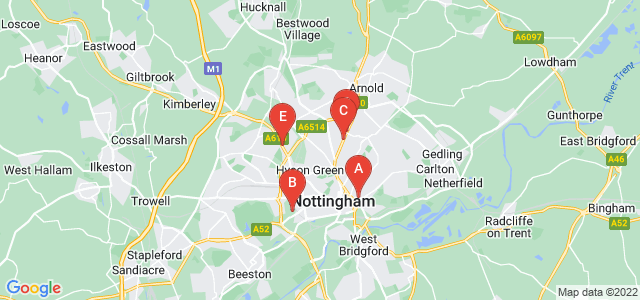Google static map for Nottingham