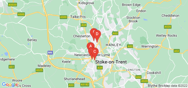 Google static map for Newcastle Under Lyme