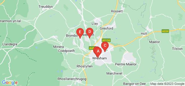 Google static map for Wrexham