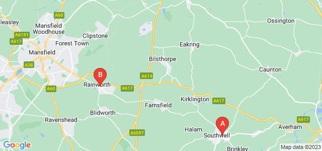 Google static map for Nottinghamshire