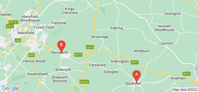 Google static map for Nottinghamshire