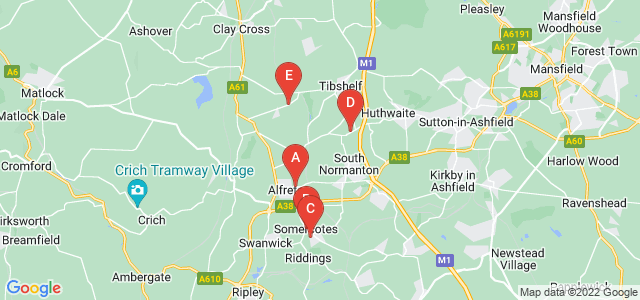 Google static map for Alfreton