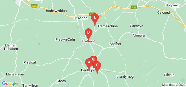 Google static map for Denbighshire