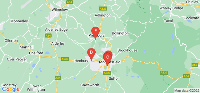 Google static map for Macclesfield