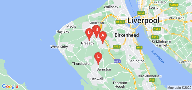 Google static map for Wirral