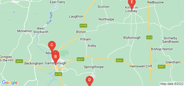 Google static map for Gainsborough